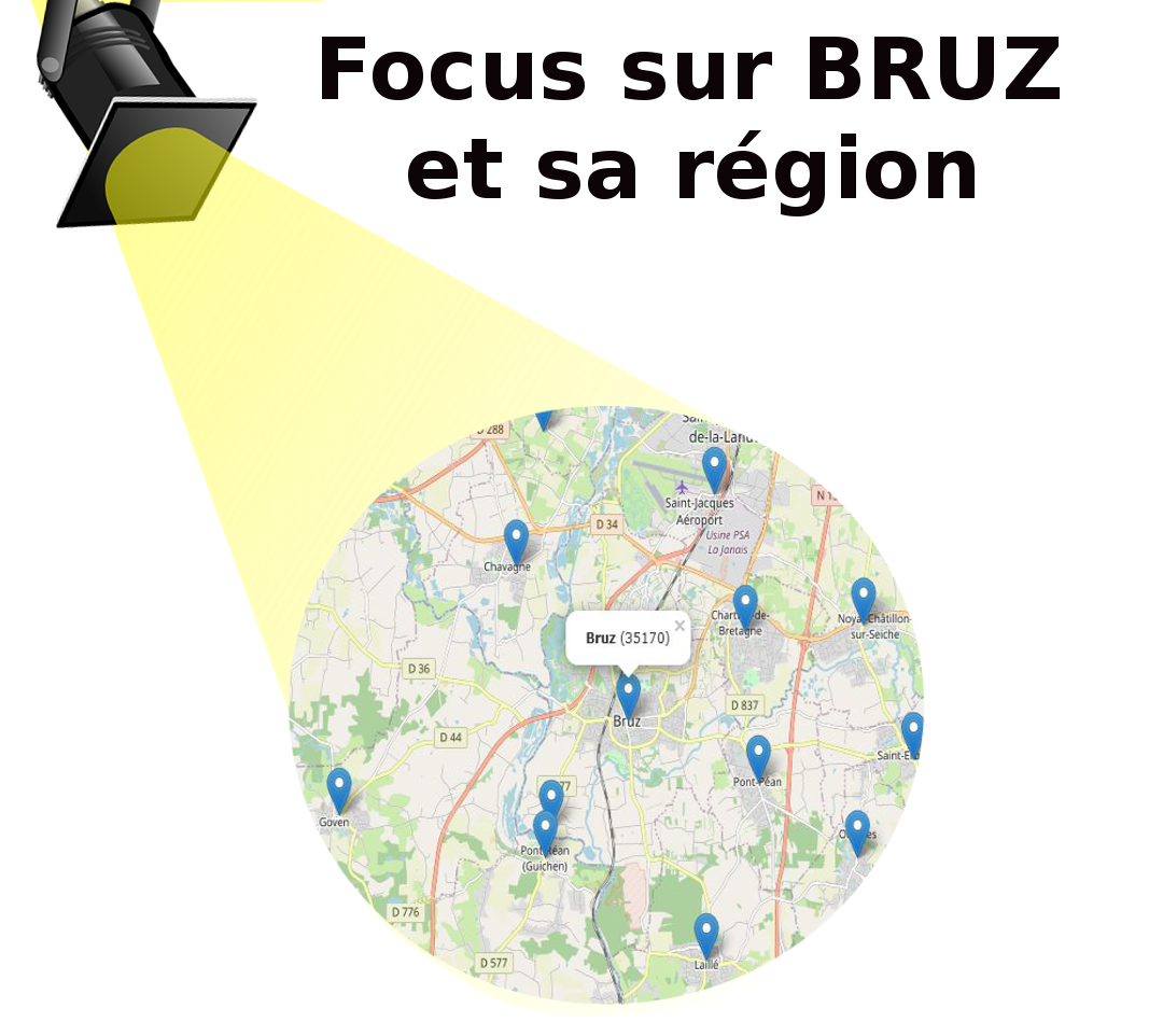 Un spot faisant le focus sur la carte des circuits de marche nordique aux environs de Bruz