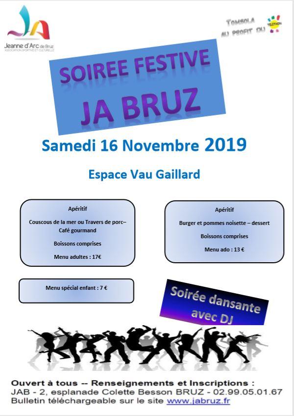 affiche soirée festive du 16 novembre 2019 incluant les menus, les tarifs, les coordonnées de l'organisateur