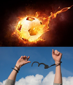 Une lueur d'espoir symbolisée par un ballon en feu et une personne se libérant de ses menottes