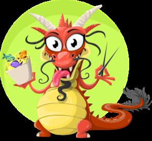 Un dessin de dragon tirant la langue