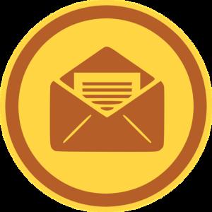 Un logo enveloppe marron sur fond jaune