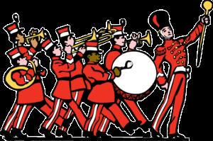 Dessin stylisé d'une fanfare habillée en rouge en train de défiler