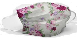 Un masque de protection contre le coronavirus orné d'un motif floral