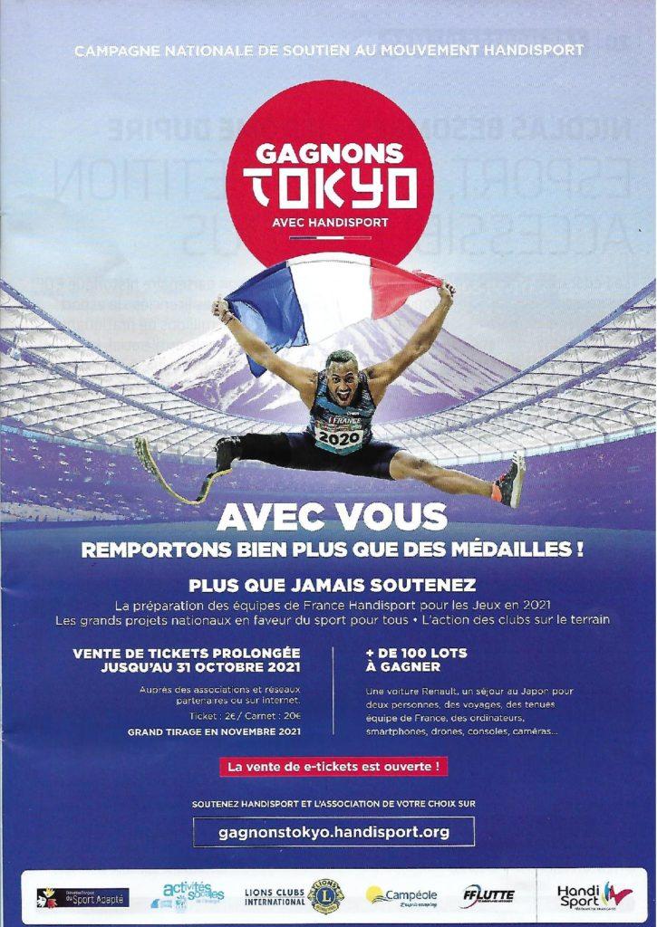 Affiche de la FFH de la Tombola Gagnons Tokyo représentant un athlète en plein saut brandissant el drapeau françaissut
