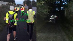 Régles de distanciation entre marcheurs: 1 m en latéral et 2 m entre logitudinal