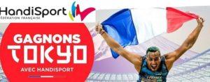 Logo Gagnons Tokyo cercle rouge et handi sportif brandissant le drapeau français