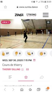 Zumba Live Thierry 30 Septembre 2020