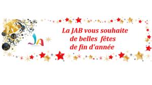 Message de la JAB souhaitant de, belles f^tes entouré de guirlandes et d'étoiles