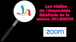 Un zoom sur les vidéos de l'AGA 2019 2020 illustré par une loupe sur le logo de la JAB
