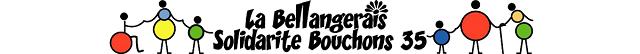 Bannière de l'association La Bellangerais Solidarité Bouchons 35 . On y voit une farandole de personnes se donnant la main : une canne et un fauteuil symbolisant le handicap