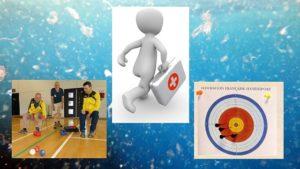 Des joueurs de boccia, une cible de sarbacane avec des fléchettes et une malette de pharmacie pour soigner la planète