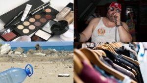 Une photo montrant des produits d emaquillage, la plage , des vêtements et un joueur de Karaoké