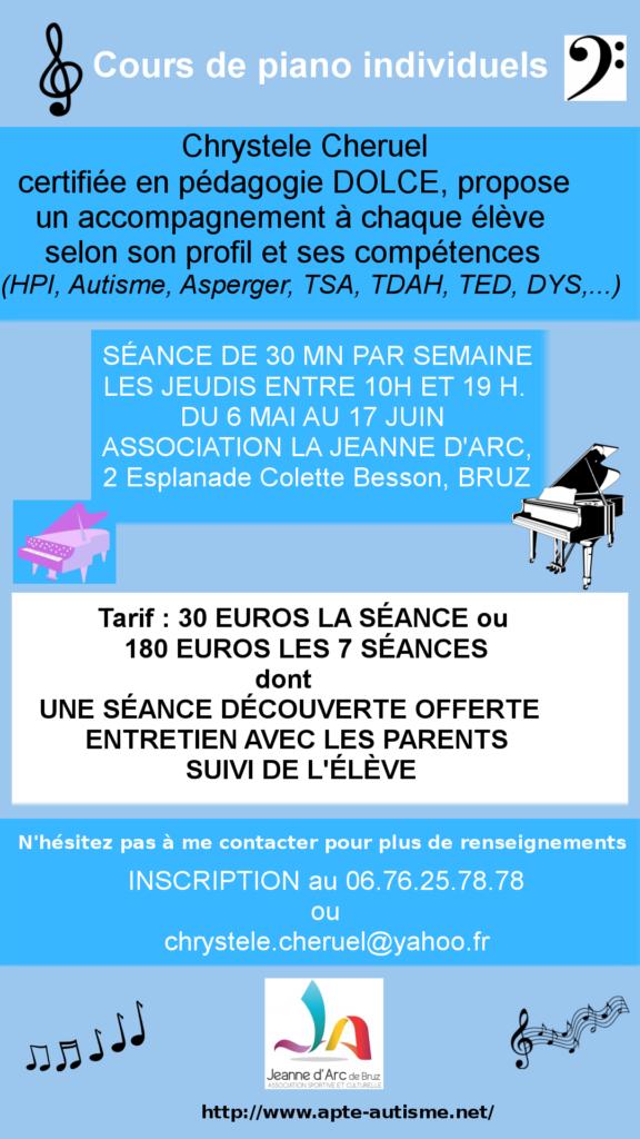 Flyer cours de piano autisme et handicap