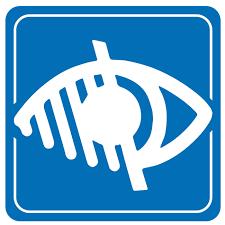 Logo blanc sur fond bleu signalant un accès pour les malvoyants
