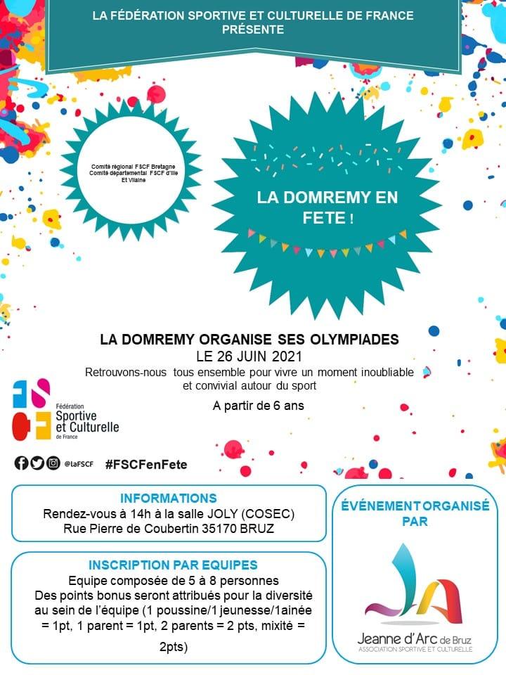 Affiche des olympiades de la domremy . On y voit les logos de la JAB et de la FSCFavec les principales infos à retenir de la fête