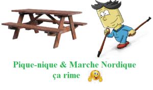 une table de pique nique en bois et un dessin de marcheur