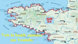 La carte de Bretagne avec en tacé rouge sur son pourtour le GR34